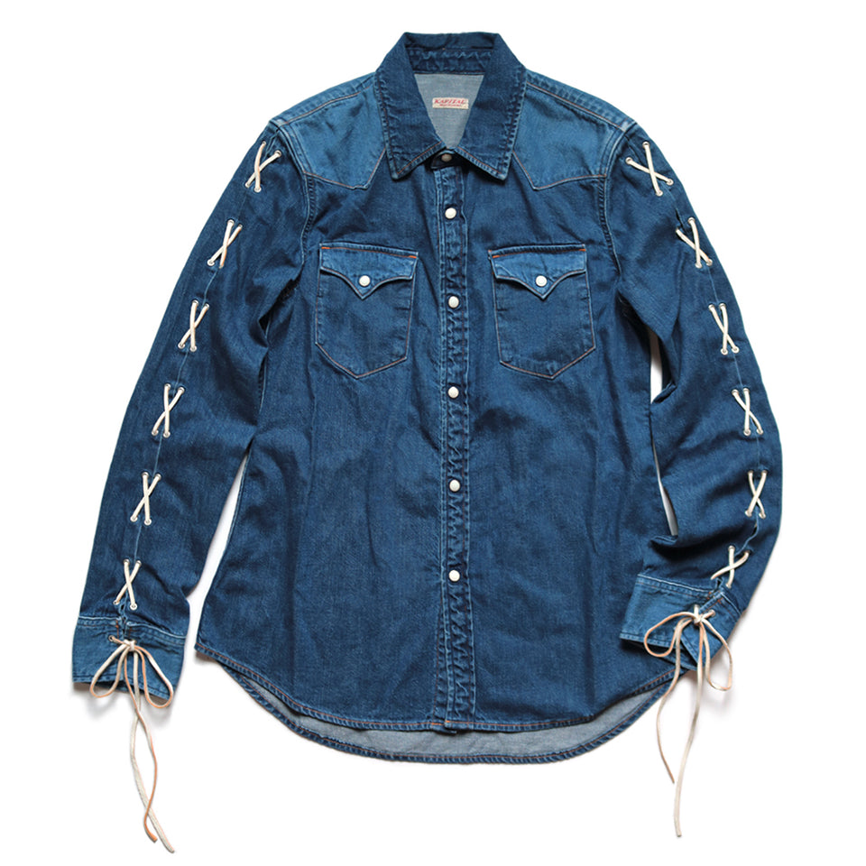 KAPITAL - 8oz DENIM LACE-UP WESTER SHIRT LADIES - INDIGO at Mannahatta NYC