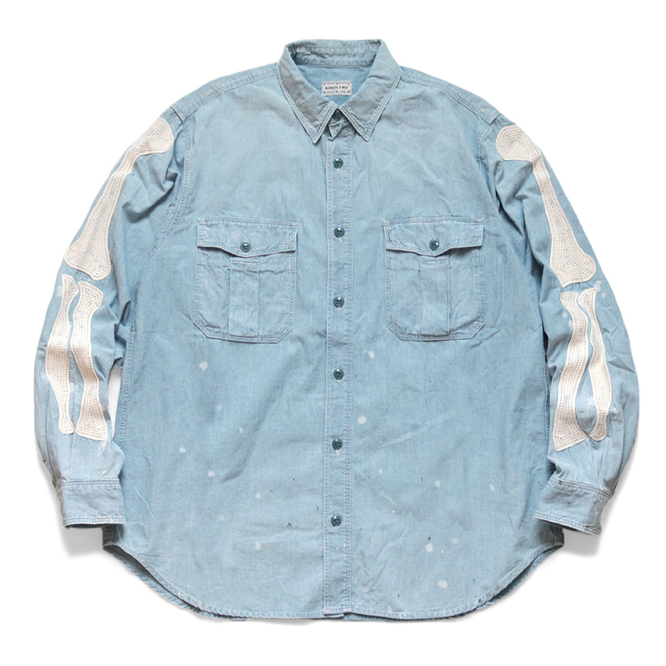 CHAMBRAY WORK SHIRT (BONE EMBROIDERY) - SAX