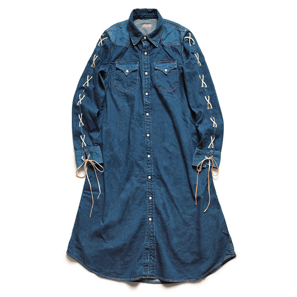 8oz DENIM LACE-UP WESTERN DRESS - INDIGO