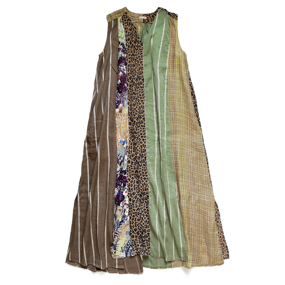 CRAZY PATCHWORK LAMP DRESS - BROWN