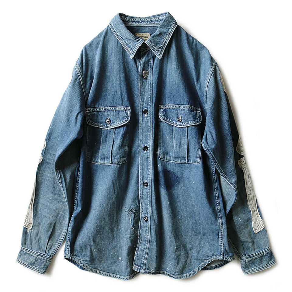 8oz DENIM WORK SHIRT (BONE EMBROIDERY) - INDIGO