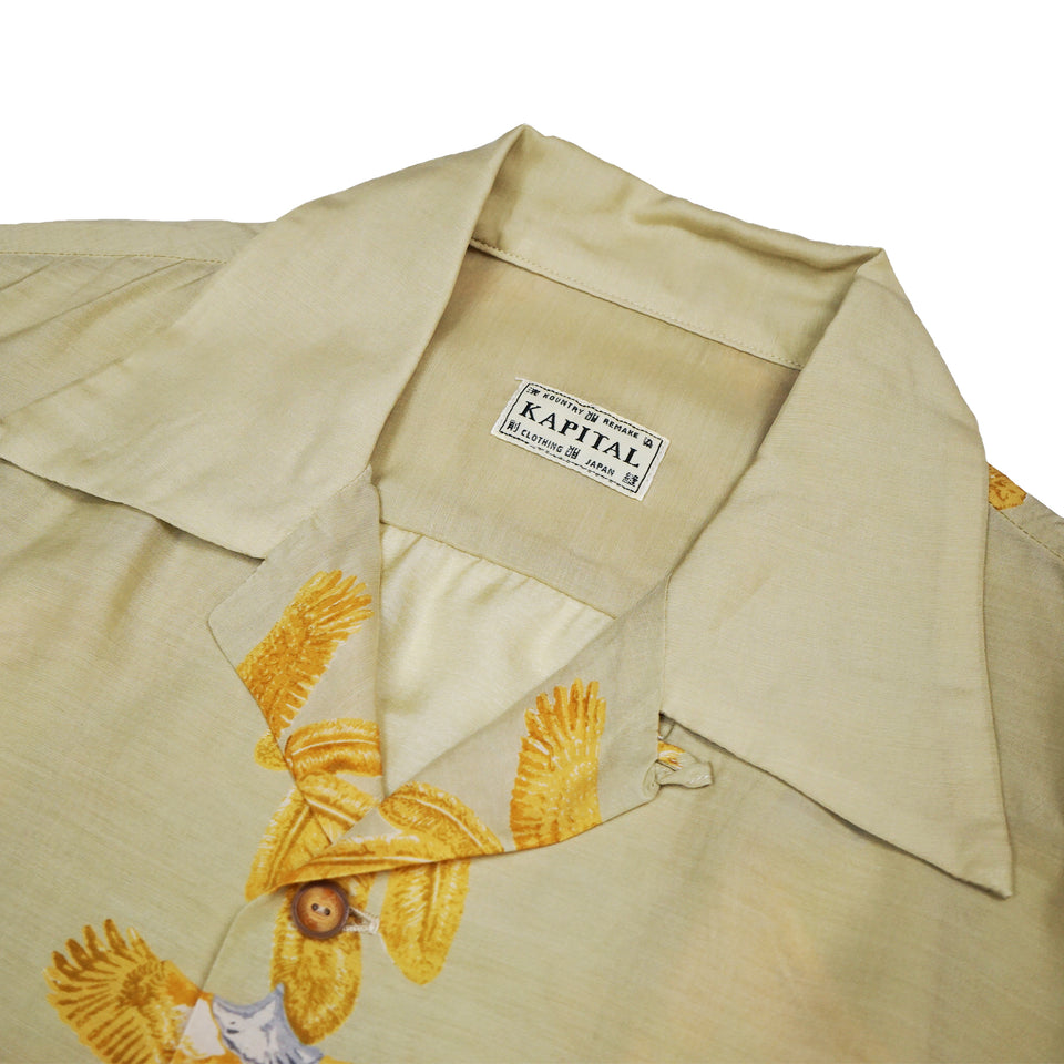 SILK RAYON EAGLE JEWEL ALOHA SHIRT - NATURAL