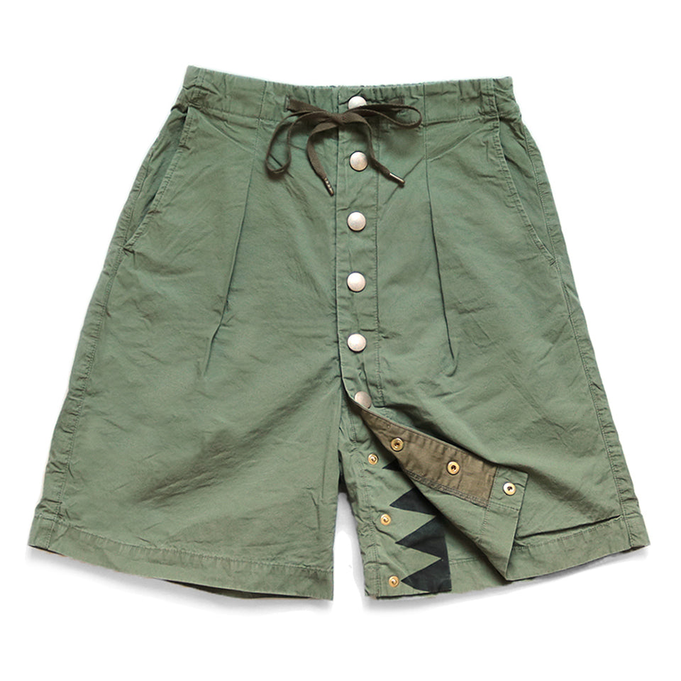 KAPITAL - COTTON SURF COWBOY SHORT PANTS - OLIVE at Mannahatta NYC