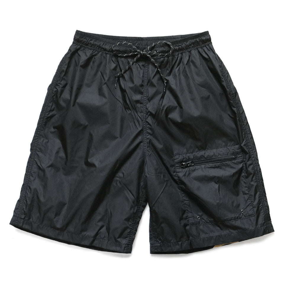 NYLON SWIM TRUNKS (RAIN SMILE) - BLACK