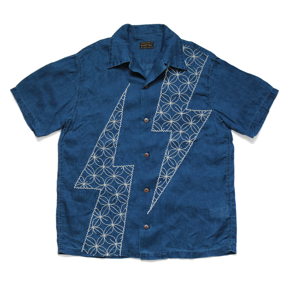 FRENCH CLOTH LINEN ALOHA SHIRT (THUNDER SASHIKO) - INDIGO