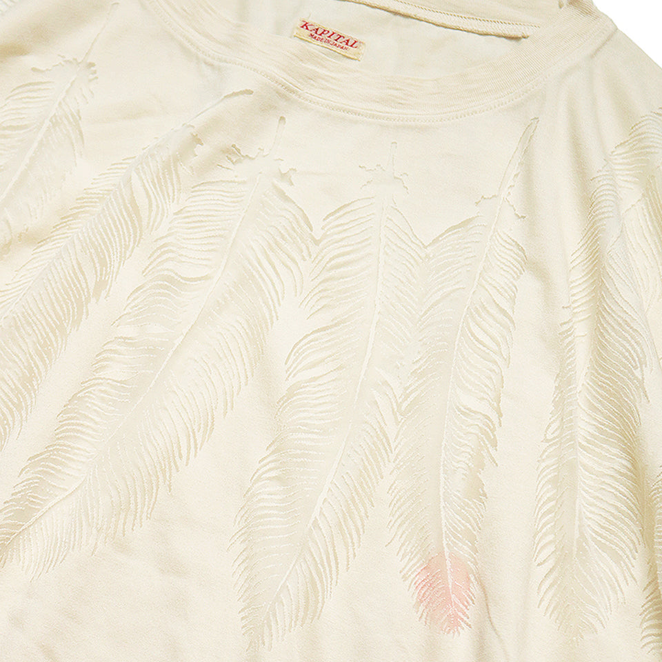 JERSEY HUGE TEE (FEATHER BURN-OUT) - NATURAL