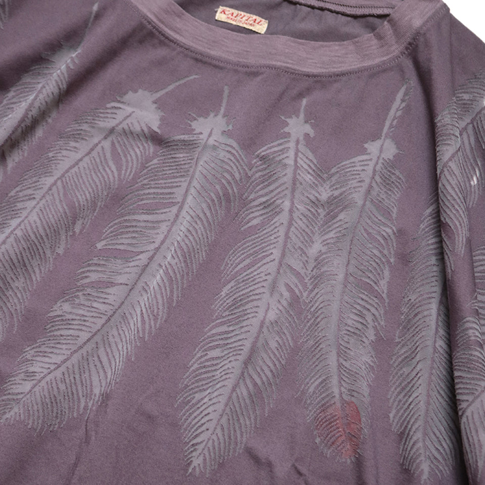 JERSEY HUGE TEE (FEATHER BURN-OUT) - PURPLE