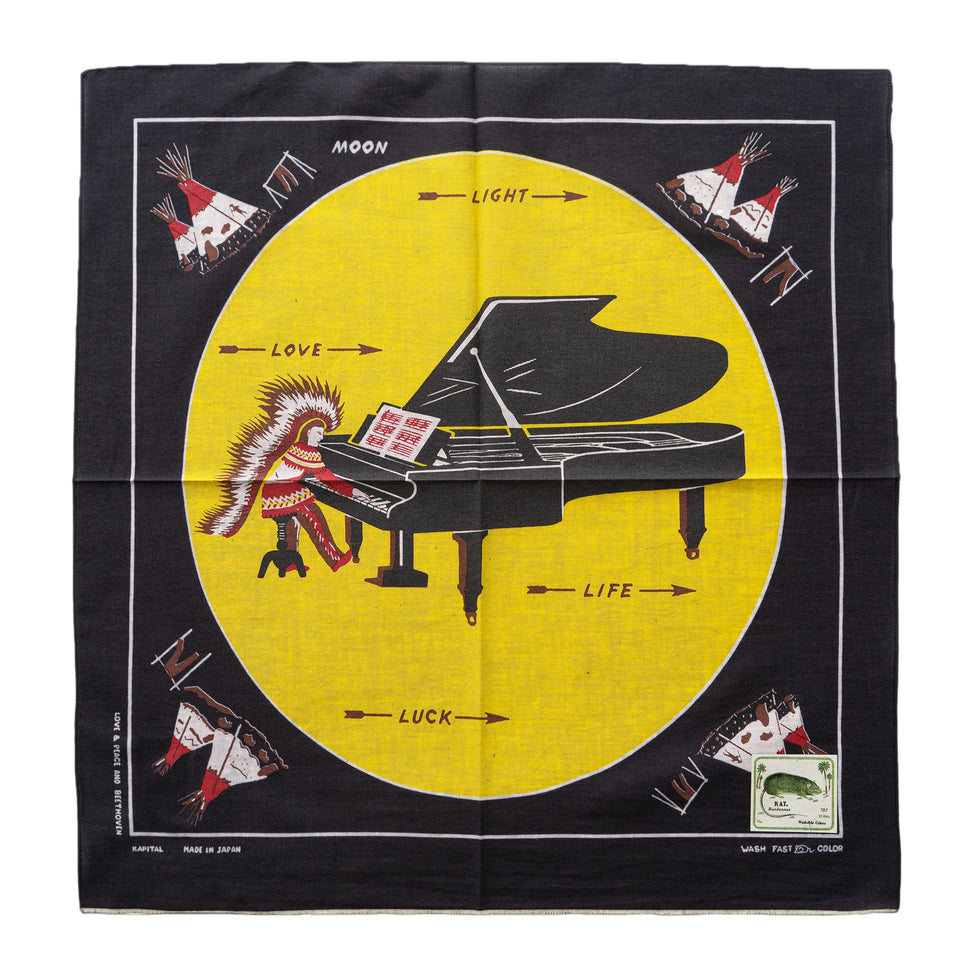 KAPITAL - FASTCOLORSELVEDGE BANDANA (PIANO MOON 4L) - BLACK at Mannahatta NYC
