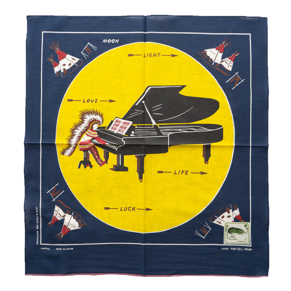 KAPITAL - FASTCOLORSELVEDGE BANDANA (PIANO MOON 4L) - NAVY at Mannahatta NYC