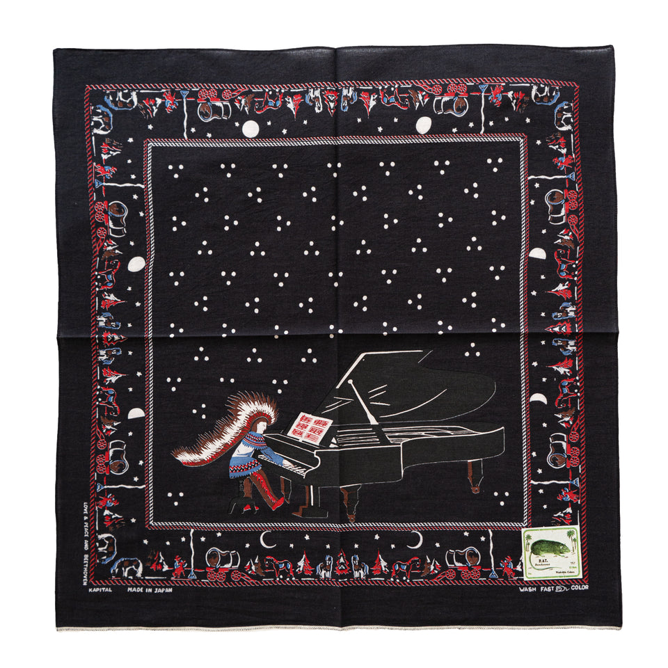 FASTCOLOR SELVEDGE BANDANA (MOON PHASE) - BLACK