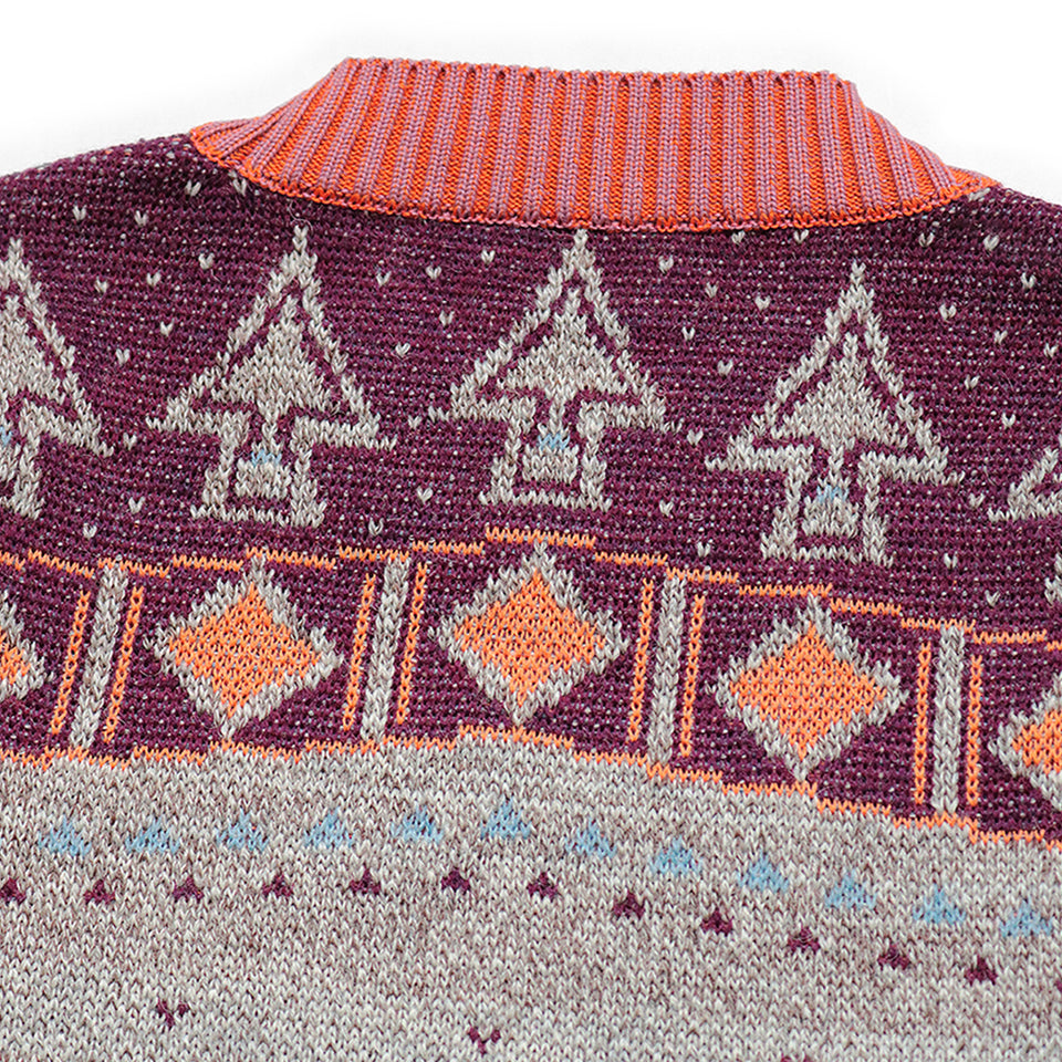 7G KNIT ALASKA CAMP PIANO CREW SWEATER - GRAY