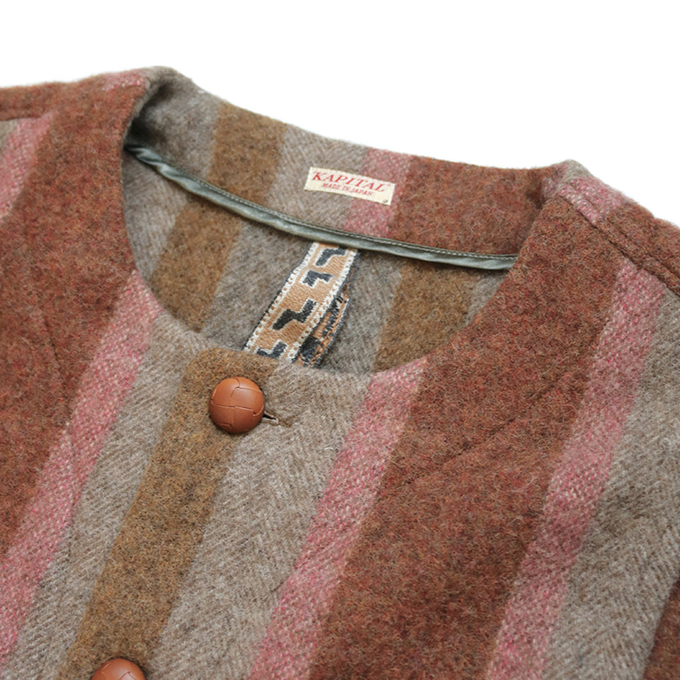 WOOL DAVINCI STRIPE GAUCHO VEST - BROWN