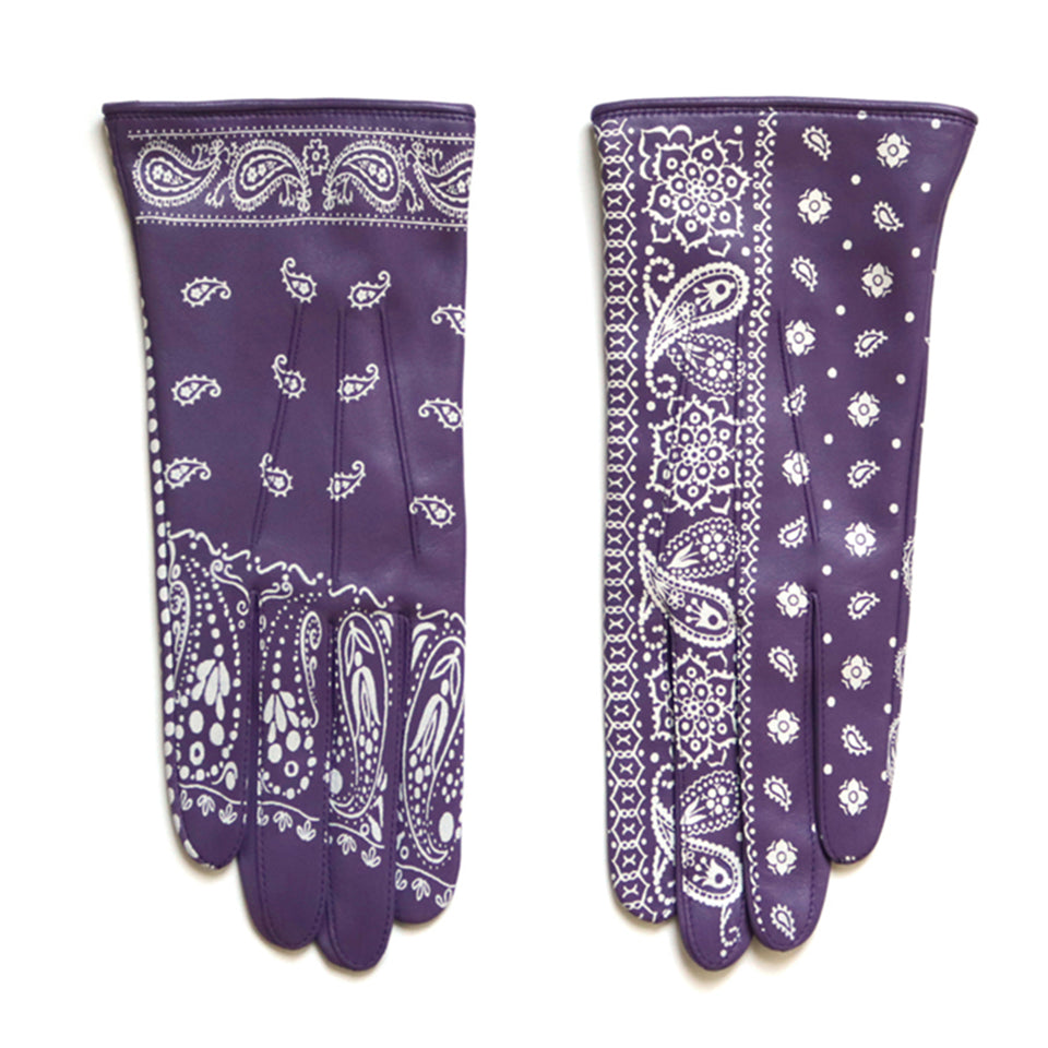 LAMBSKIN LEATHER BANDANA GLOVES - PURPLE