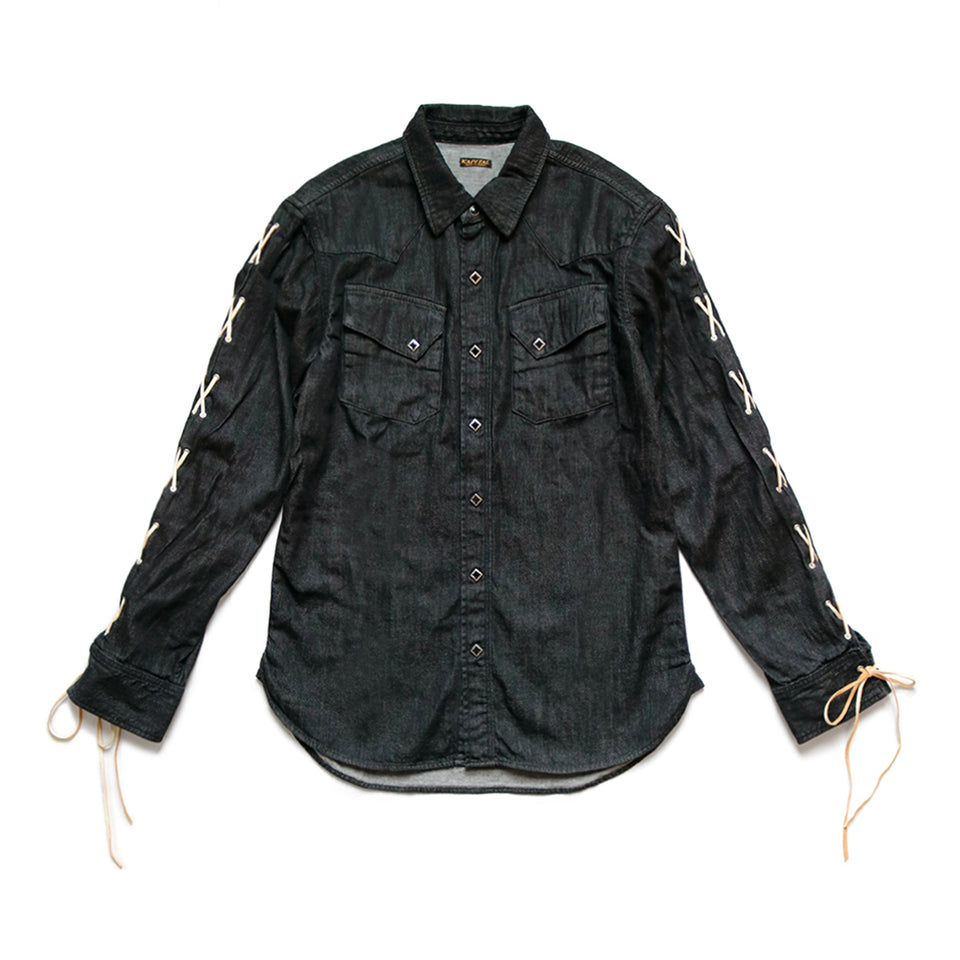 8oz BLACK DENIM LACE-UP WESTERN SHIRT - BLACK