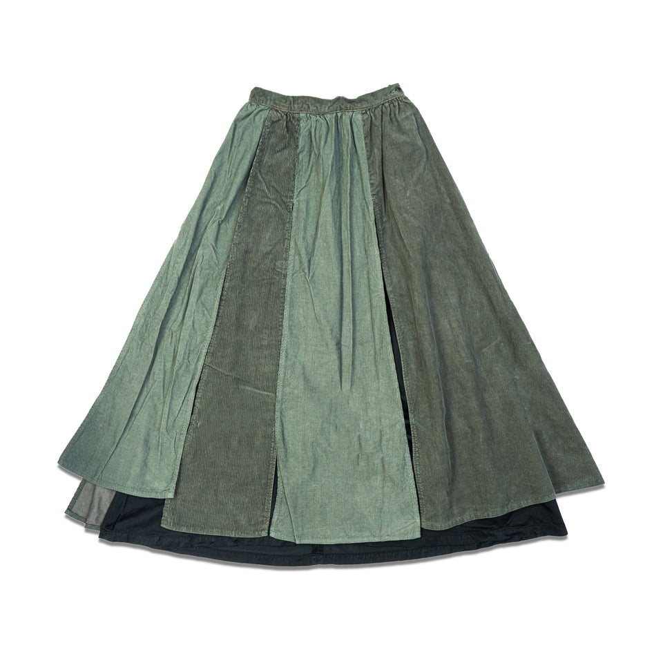 CORDUROY LAMP SKIRT - GREEN