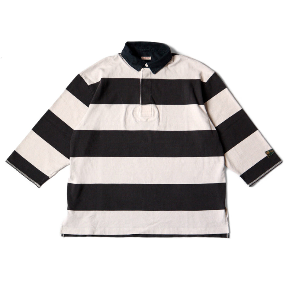 STRIPE JERSEY RUGGER SHIRTS 3/4 SLEEVE - BLACK/NATURAL