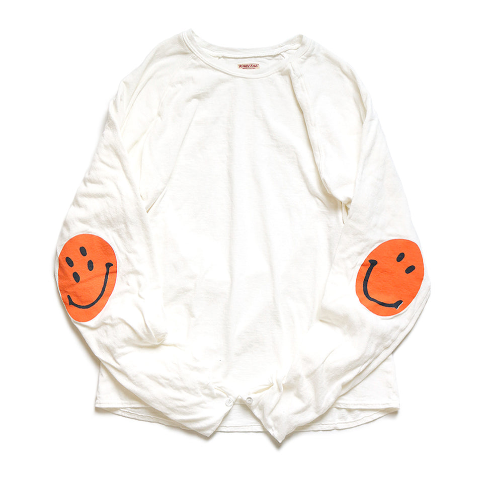 JERSEY / GAUZE LONG SLEEVE TEE (SMILE PATCH) - WHITE