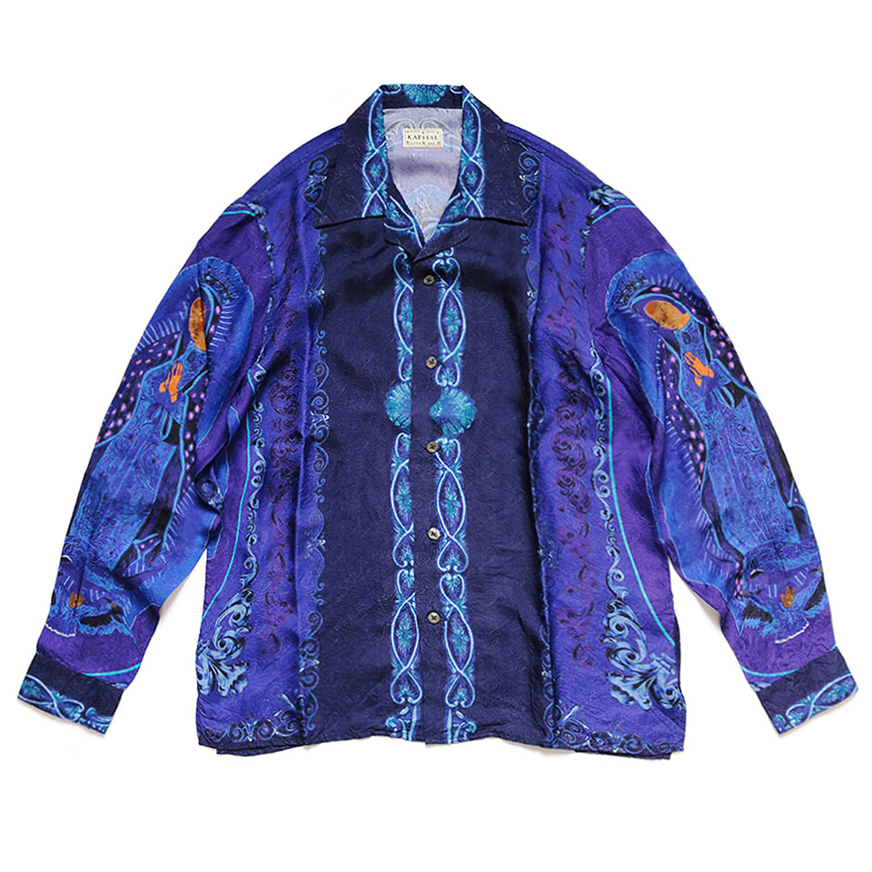 RAYON VIRGIN MARY OPEN COLLAR SHIRT - PURPLE