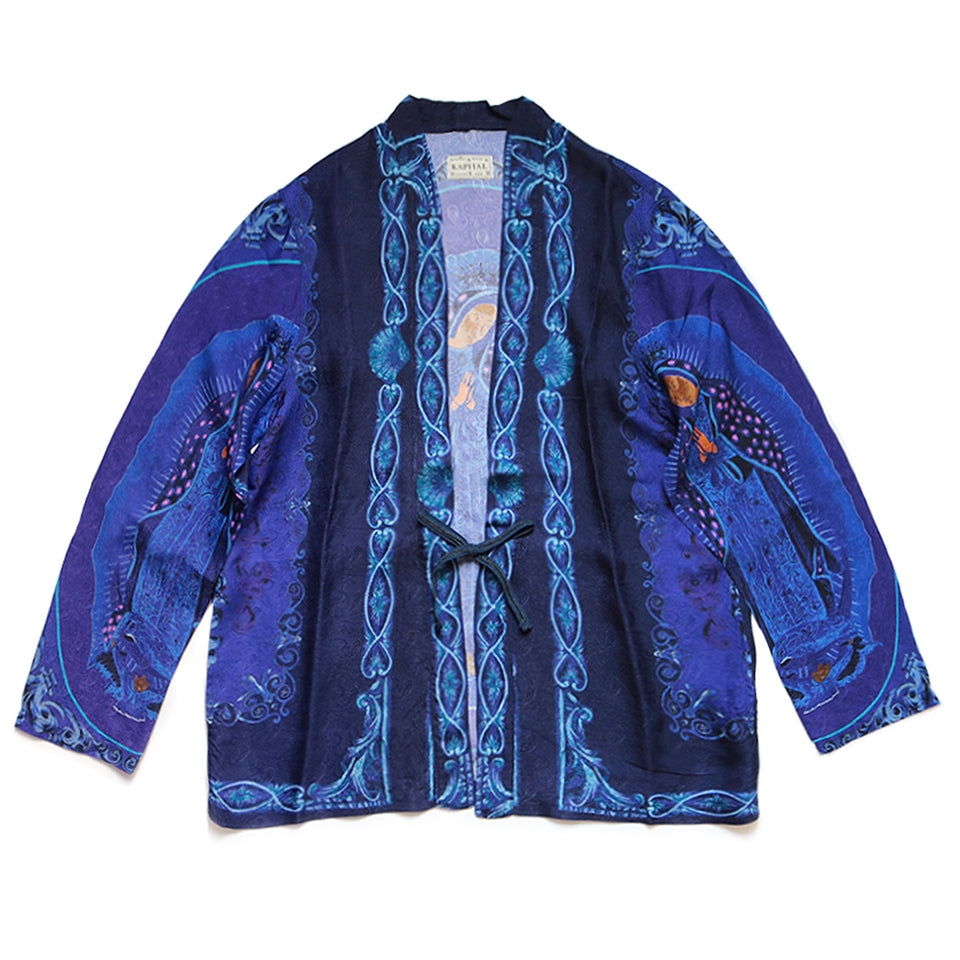 RAYON VIRGIN MARY KIMONO SHIRT - PURPLE
