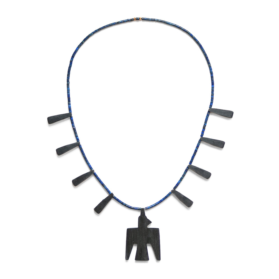 BATTERY BIRD NECKLACE (L) - NAVY