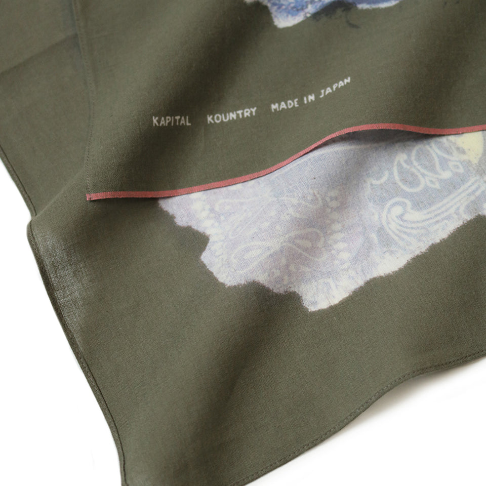 FASTCOLOR SELVEDGE BIG BANDANA (SMILE BANDANA PATCHWORK) - OLIVE