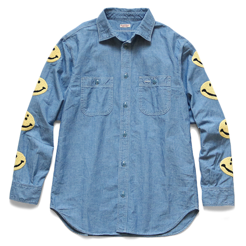 KAPITAL - CHAMBRAY WORK SHIRT (SMILE EMBROIDERY) - SAX at Mannahatta NYC