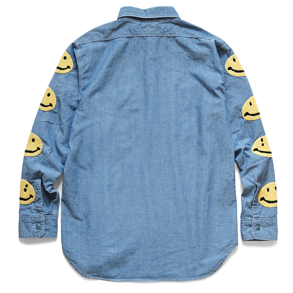 CHAMBRAY WORK SHIRT (SMILE EMBROIDERY) - SAX