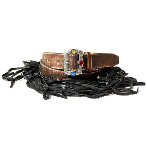 KAPITAL - LEATHER LEATHER FRINGE BELT (DISCO BUCKLE) - BLACK