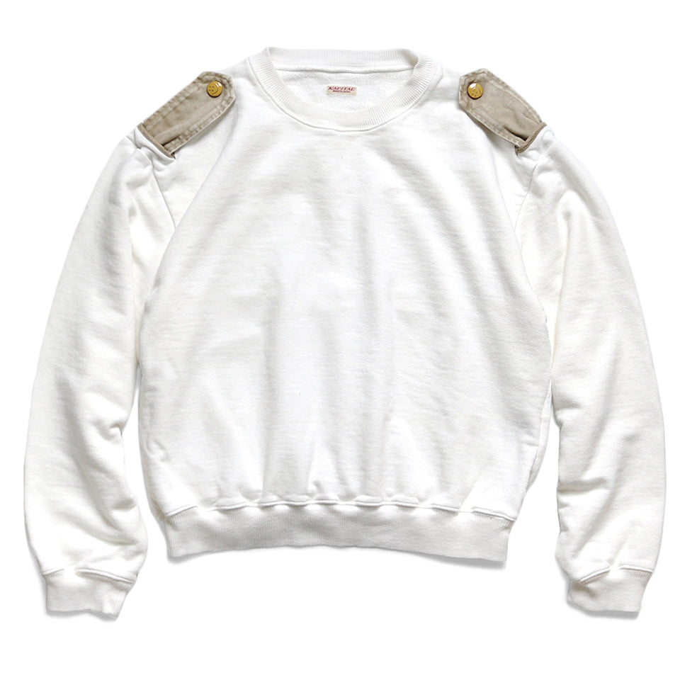 FLEECE KNIT KAMOME CREW SWEAT (RAIN SMILE) - WHITE