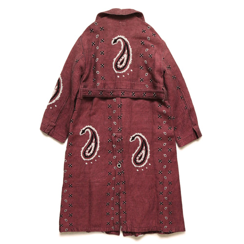KAPITAL - RAG PAISLEY LINEN WOOL DRAGGING COAT - RED