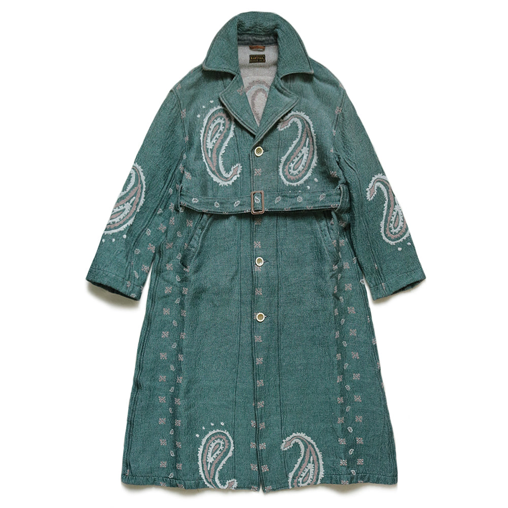 KAPITAL - RAG PAISLEY LINEN WOOL DRAGGING COAT - SAX