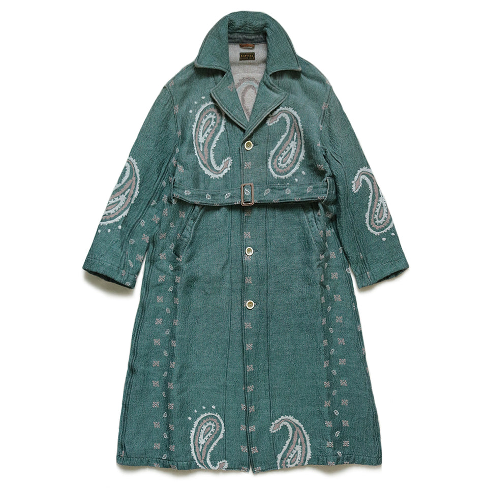 RAG PAISLEY LINEN WOOL DRAGGING COAT - SAX