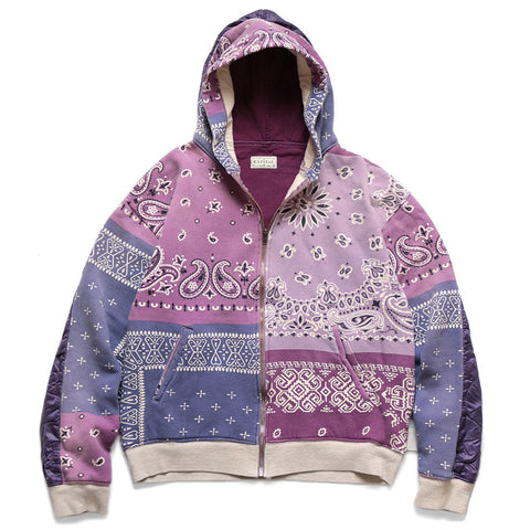 KAPITAL - FLEECY KNIT BIVOUAC HOODED BLOUSON (ASHBURY DYED) - PINK x INDIGO
