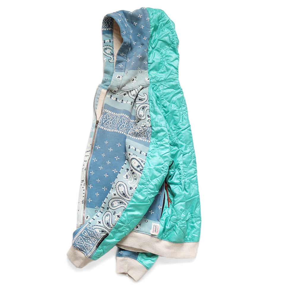 FLEECY KNIT BANDANA BIVOUAC HOODED BLOUSON - SAX