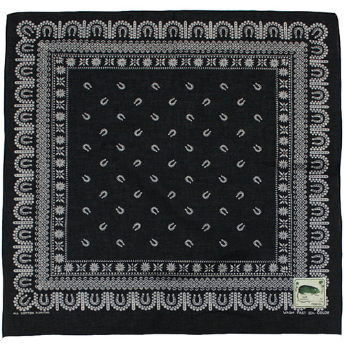 KAPITAL - FASTCOLOR SELVEDGE BANDANA (HORSE SHOE) - BLACK