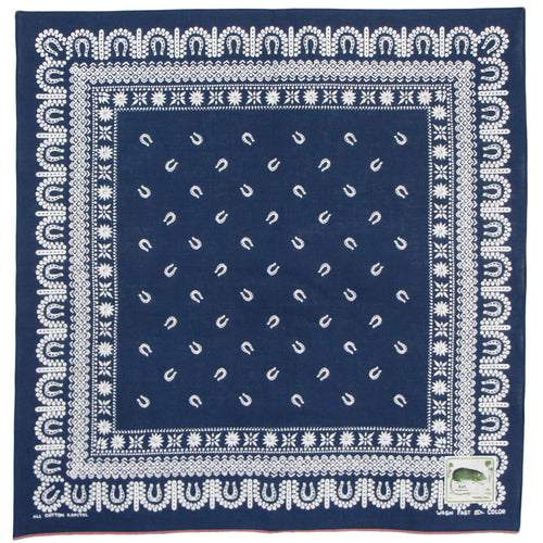 KAPITAL - FASTCOLOR SELVEDGE BANDANA (HORSE SHOE) - NAVY