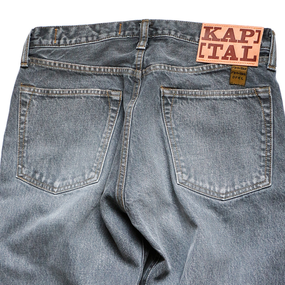 KAPITAL - 14oz BLACK DENIM 5P MONKEY CISCO (3YEARS FADE) - BLACK