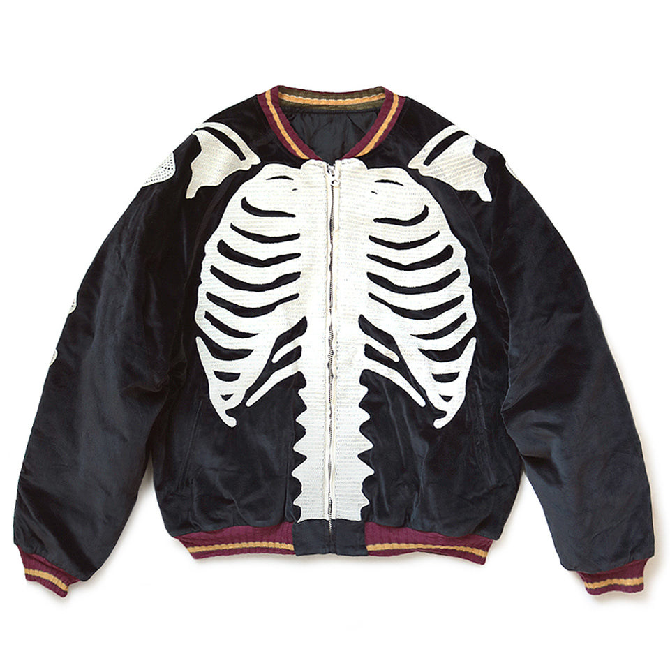 VELVETEEN BONE EMBROIDERED SOUVENIR JACKET - BLACK