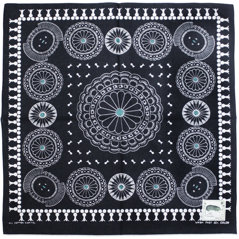 KAPITAL - FASTCOLOR SELVEDGE BANDANA (CONCHO) - BLACK at Mannahatta NYC