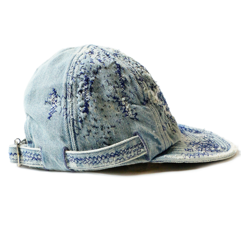 KAPITAL - 11.5oz DENIM KORA CAP (CRUSH REMAKE) - INDIGO