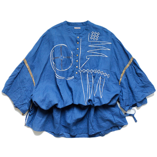 KAPITAL - LINEN DRAWNWORK GHANA SHIRT - BLUE