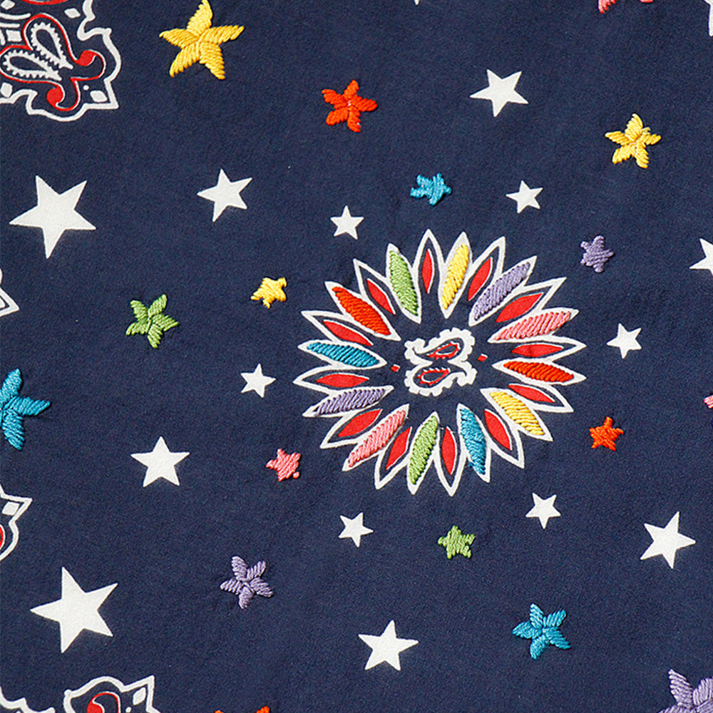KAPITAL - FASTCOLOR SELVEDGE BANDANA W/HAND EMBROIDERED STARS (COSMIC STAR) - NAVY