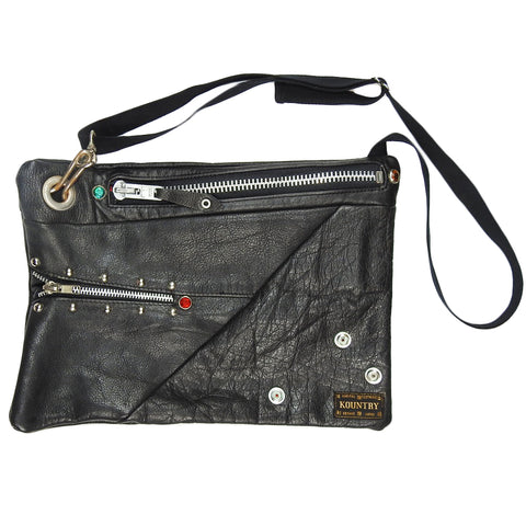 KAPITAL - MIRRORED LEATHER FUNNY PACK - SILVER / PYTHON