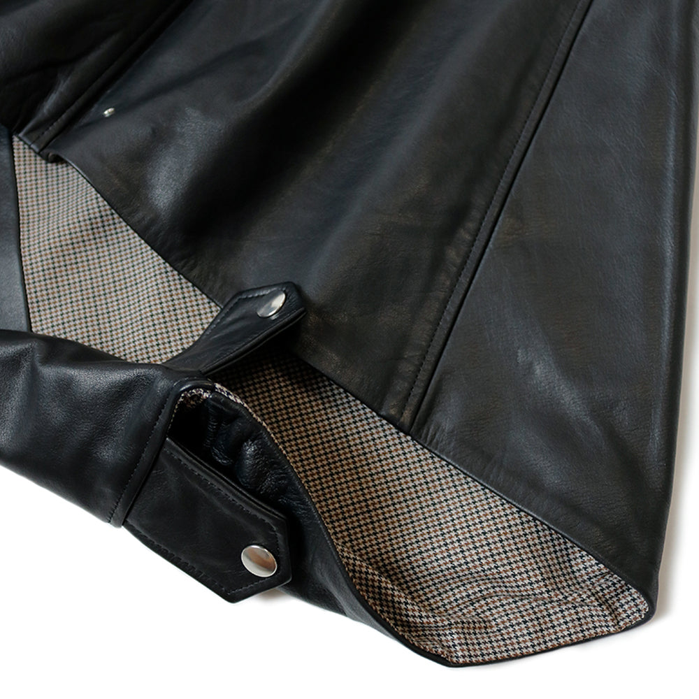 KAPITAL - LEATHER RIDERS MINI PANCHO - BLACK