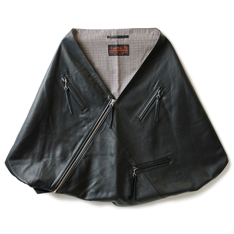 LEATHER RIDERS MINI PANCHO - BLACK