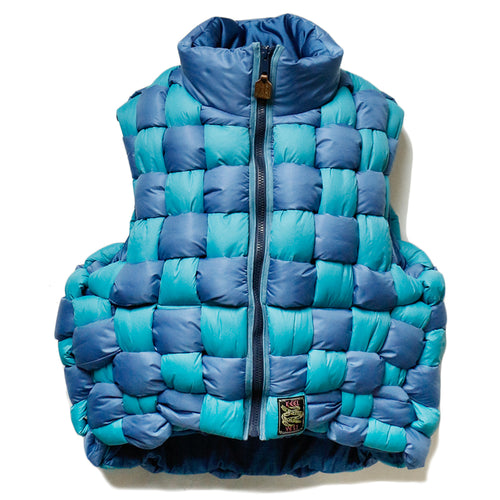 KAPITAL - RIP STOP NYLON KEEL WEAVING VEST - BLUE