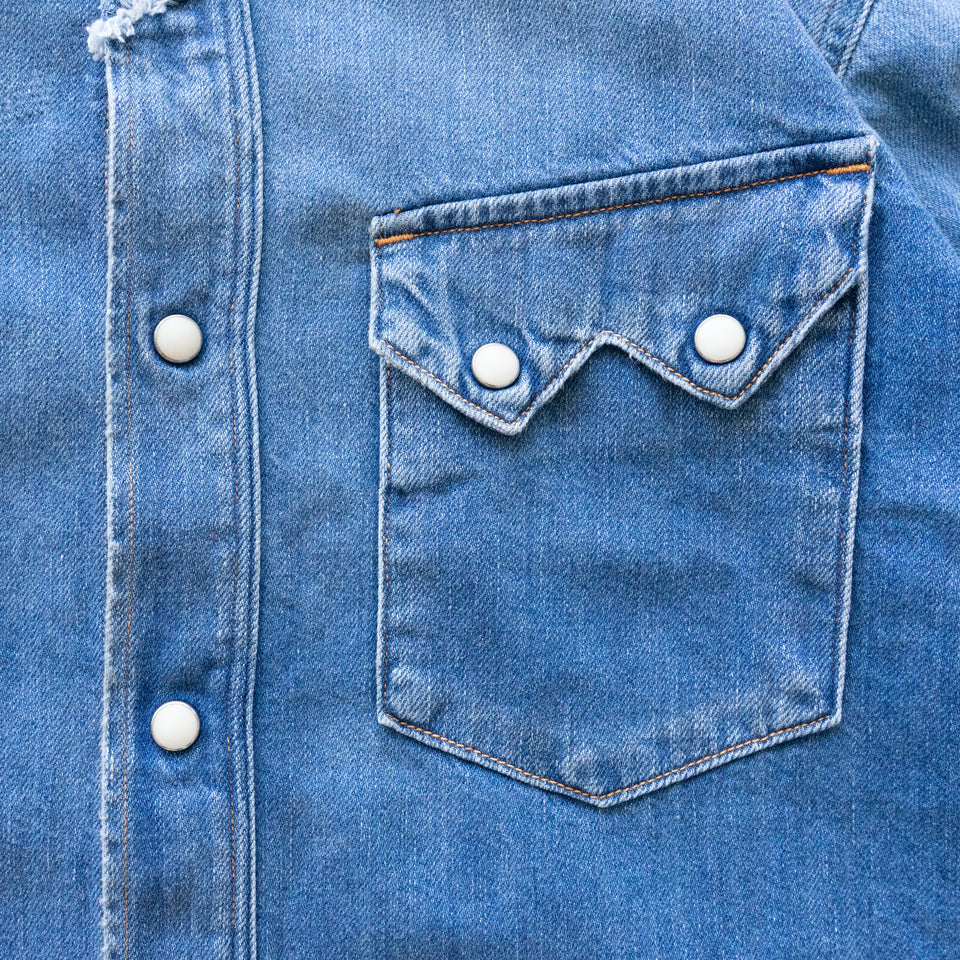 8oz DENIM STUDS WESTERN SHIRT (LINED SLEEVE) - INDIGO