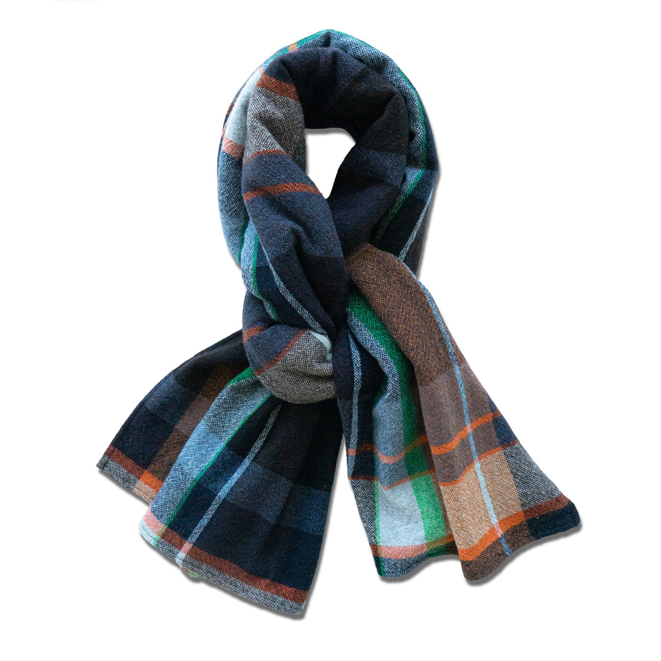 PLAID WOOL NYLON CLOTH SCARF - NAVY