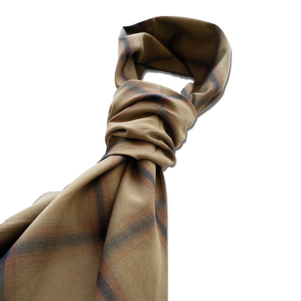 BLURRED PLAID NATURAL STRETCH COTTON CLOTH - BEIGE