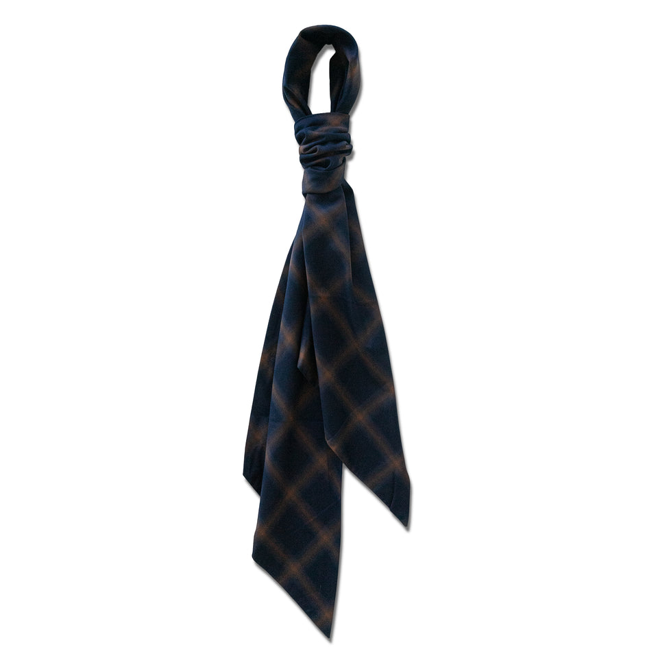 BLURRED PLAID NATURAL STRETCH COTTON CLOTH - NAVY